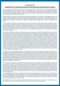 LE MANIFESTE DE LA DEMOCRATIE PARTICIPATIVE EN RDC