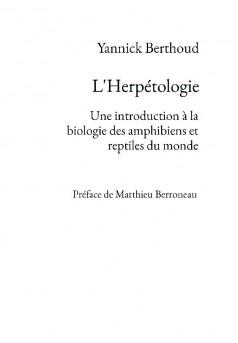 L'Herpétologie - Couverture de livre auto édité